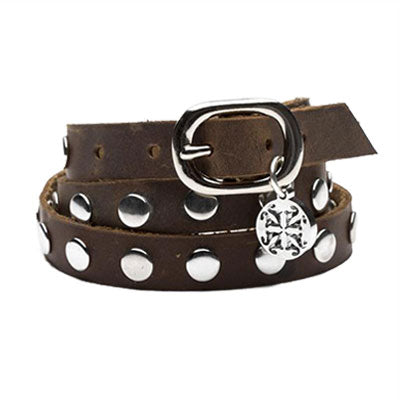 Rustic Cuff Leather Triple Wrap Brown