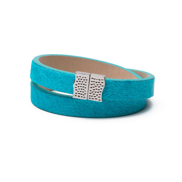 Haley Double Calfskin Turquoise with Silver