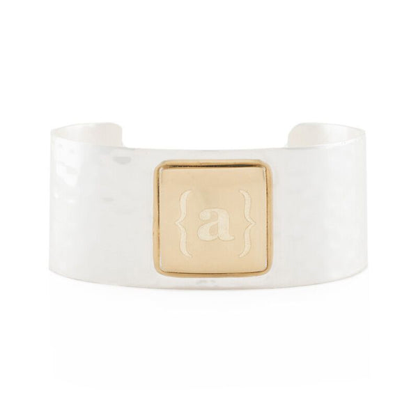 RC Monogram Square Silver Cuff with Gold Square Single Initial