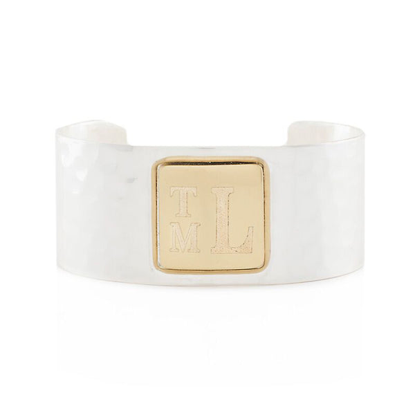 RC Monogram Square Silver Cuff with Gold Square