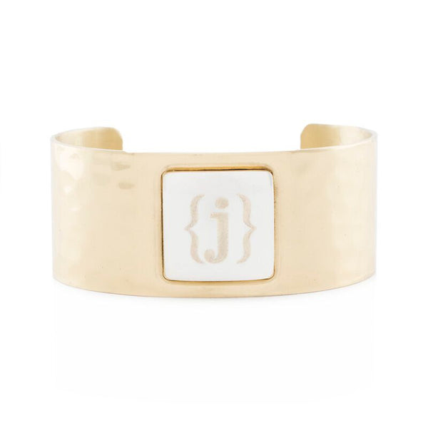 RC Monogram Square Gold Cuff with Silver Square Single Initial