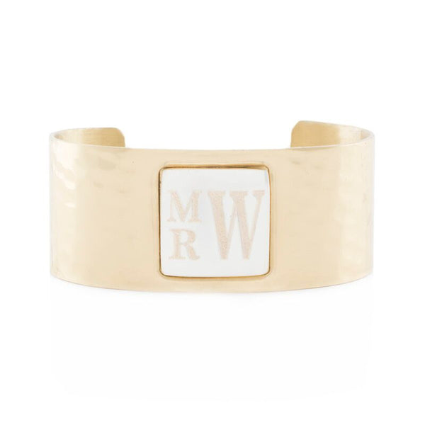 RC Monogram Square Gold Cuff with Silver Square