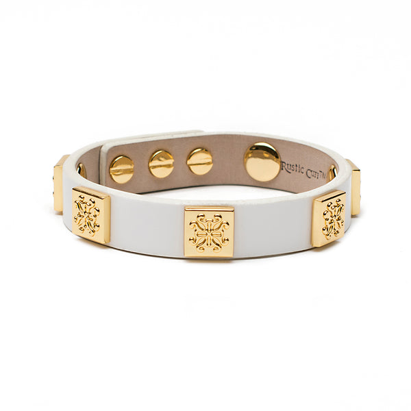 Meagen Patent Single Wrap - White with Gold