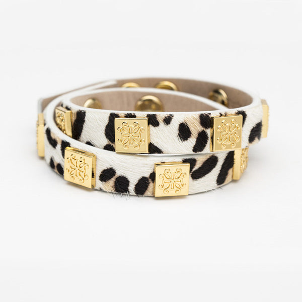 Meagen Calfskin White Leopard Double Wrap with Gold