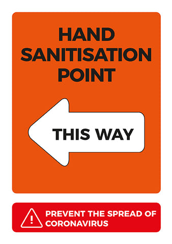 CVA7 Hygiene Poster - Hand Sanitisation Point Left Arrow Poster