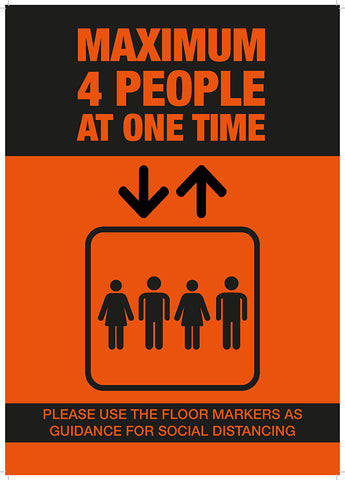LP01 Lift Safety Poster - Maximum 4 People at One Time Hygiene Poster