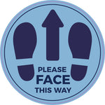 LFS04 Floor stickers, Internal or External- Please face this way light blue sign with dark blue text and feet
