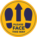 LFS05 Floor stickers, Internal or External- Please face this way golden yellow sign with dark blue text and feet