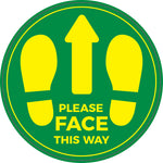LFS03 Floor stickers, Internal or External- Please face this way green sign with yellow text and feet