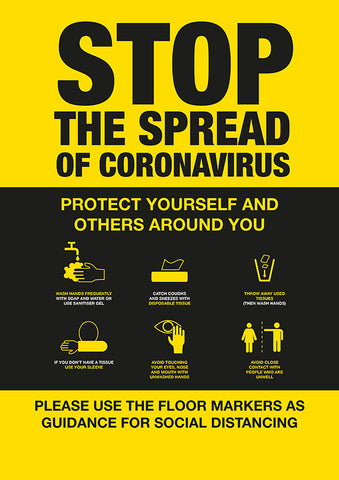PO2 Hygiene Poster -STOP the spread of Coronavirus poster with 6 guidance icons