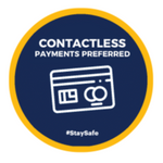 FS29 Internal, Carpet, External & Tarmac Floor Sticker 'Contactless Payments Preferred'