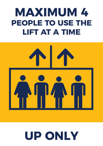 LP08 Lift Safety Poster -  4 People at One Time Poster UP ONLY