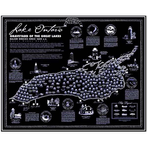 Lake Ontario Shipwrecks Poster on map of the arctic, map of the staten island ferry, map of the new jersey, map of the weather, map of the great lakes ports, map of the hurricane, map of the north carolina,