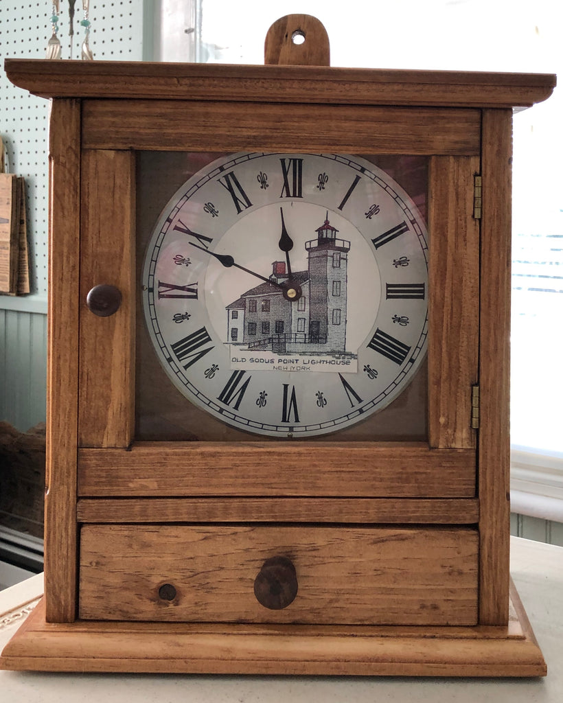 Sodus Bay Lighthouse Wooden Clock