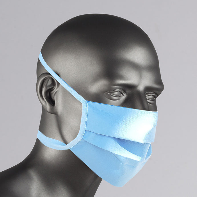 Light Blue Washable Cotton Face Mask Made in USA - blue washable mask for purchase online
