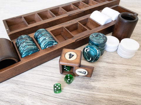 Earth Luxury Backgammon Set dice and checkers