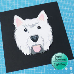 Westie 3D papercut digital download