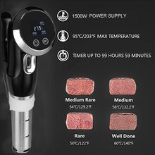 Load image into Gallery viewer, Vacuum Slow Sous Vide Food Cooker 1500W Powerful Immersion Circulator - LCD Digital Timer Display Stainless Steel - Smart Widget