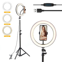 Load image into Gallery viewer, 10 inch Photography LED Selfie Ring Dimmable USB lamp with tripod - Smart Widget