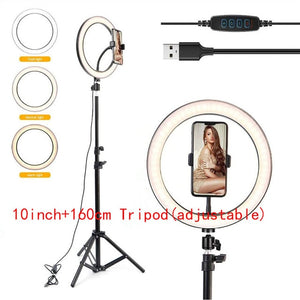 10 inch Photography LED Selfie Ring Dimmable USB lamp with tripod - Smart Widget