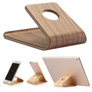 Wooden Cell Phone Stand Universal Holder Cradle for Smartphone Tablet Cellphone - Smart Widget