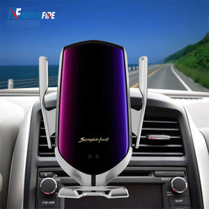 R1 10W Car Wireless Charger Automatic Clamping Quick Charge Car Holder For iPhone 11 Xiaomi Infrared Induction Qi Charger Holder - Smart Widget