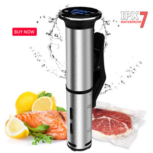 Vacuum Slow Sous Vide Food Cooker 1500W Powerful Immersion Circulator - LCD Digital Timer Display Stainless Steel - Smart Widget