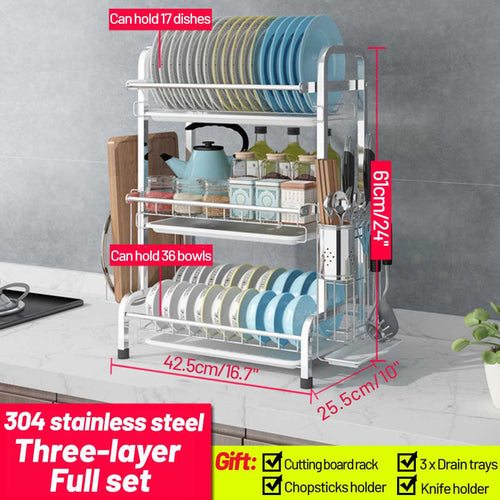 Dish Racks Holders Stainless Steel Kitchen Organizer Storage - Smart Widget