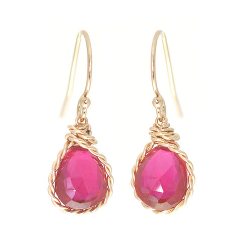 Candy Gem Earrings: Red Topaz