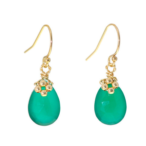 Flower on Gem Earrings: Green Onyx