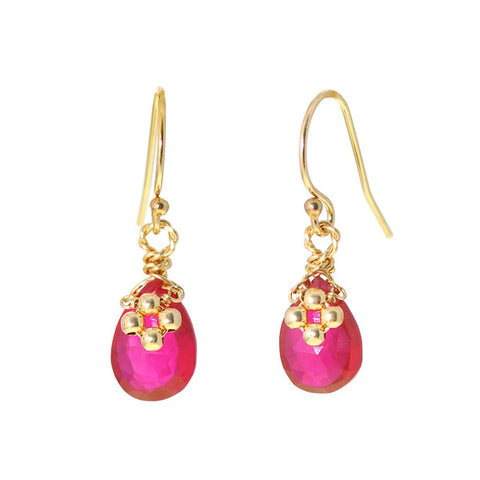 Flower on Gem Earrings: Red Topaz