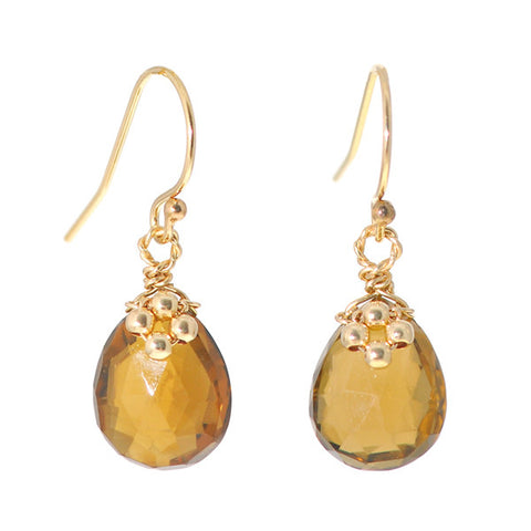 Flower on Gem Earrings: Whisky Topaz