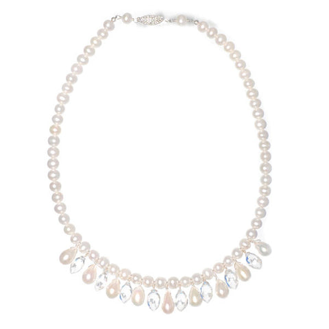 Pearl Necklace with Dangling Gems