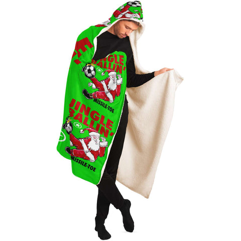 Jingle Ballin' SOCCER Super-Comfy-Cozy Hooded Sherpa Blanket Perfect Christmas Gift for Soccer Fanatics!