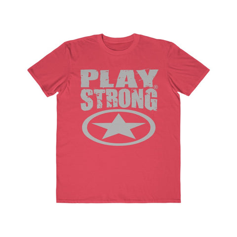 Image of Play Strong Super Star Classic Gray Logo Men's Lightweight Fashion Tee