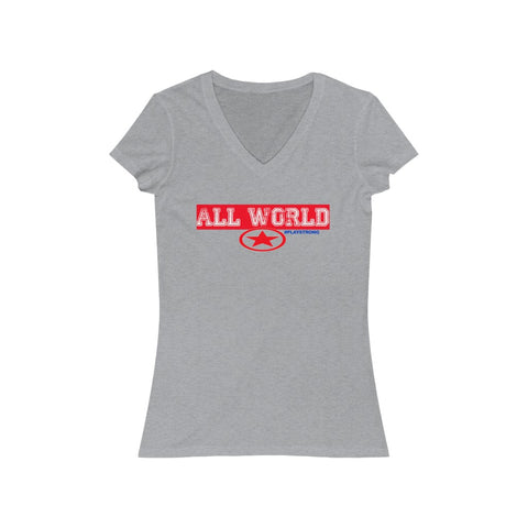Image of ALL WORLD Women's Jersey Short Sleeve V-Neck Tee
