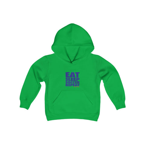 EAT SLEEP SOCCER Repeat Youth Heavy Blend Hooded Sweatshirt
