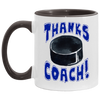 Thanks Coach! Play Strong Hockey Accent Mug