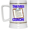 Thanks Coach! Play Strong Gold Trim Beer Stein 22oz.