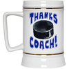Thanks Coach! Play Strong Hockey Gold Trim Beer Stein 22oz.