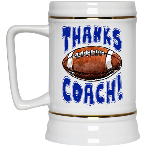 Thanks Coach! Play Strong Football Gold Trim Beer Stein 22oz.