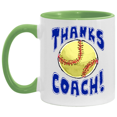 Thanks Coach! Play Strong Softball Accent Mug