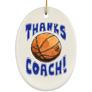 Thanks Coach! Ceramic Oval Ornament