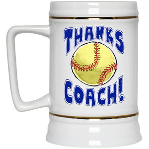Thanks Coach! Play Strong Softball Gold Trim Beer Stein 22oz.