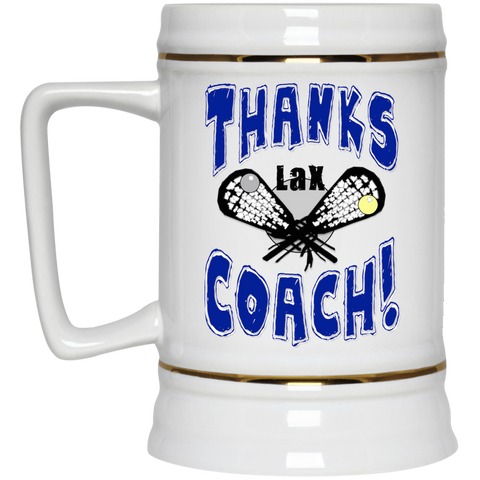 Thanks Coach! Play Strong Lacrosse Gold Trim Beer Stein 22oz.