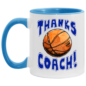 Thanks Coach! Play Strong Basketball Accent Mug