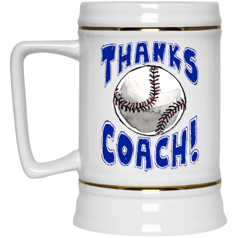 Thanks Coach! Play Strong Baseball Gold Trim Beer Stein 22oz.