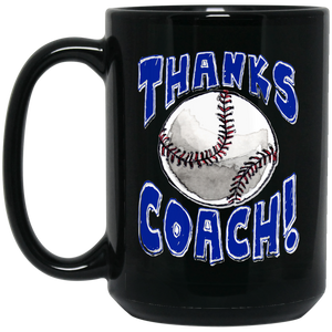 Thanks Coach! 15 oz. Black Mug