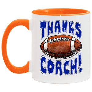 Thanks Coach! Play Strong Football Accent Mug