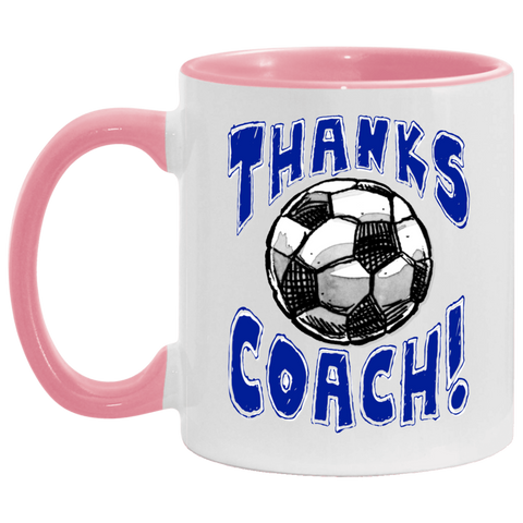 Thanks Coach! Play Strong Soccer Accent Mug